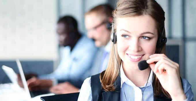 call center young lady operator