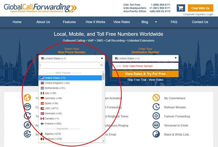 Global Call Forwarding 140 countries