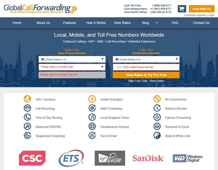 Global Call Forwarding Home Page Free Trial