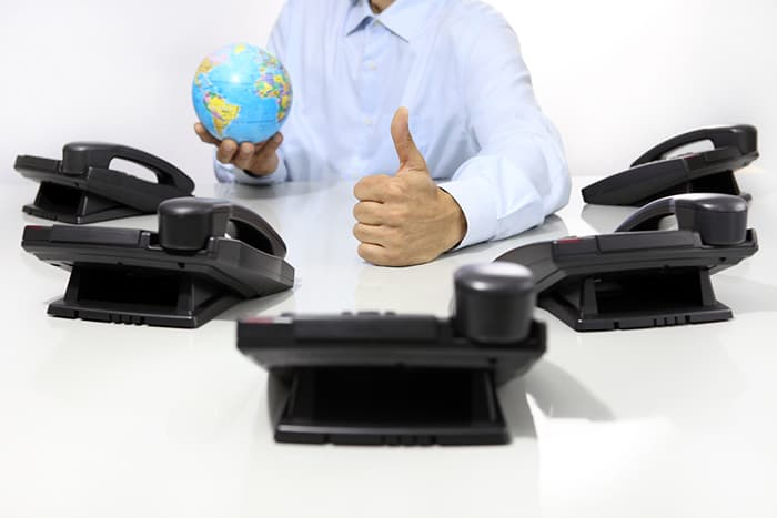 phones globe businessman