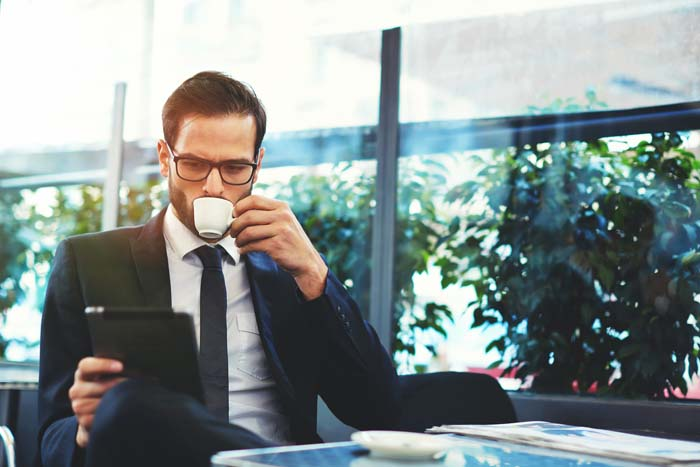 Good Habits for Entrepreneurs Man Drinking Coffee